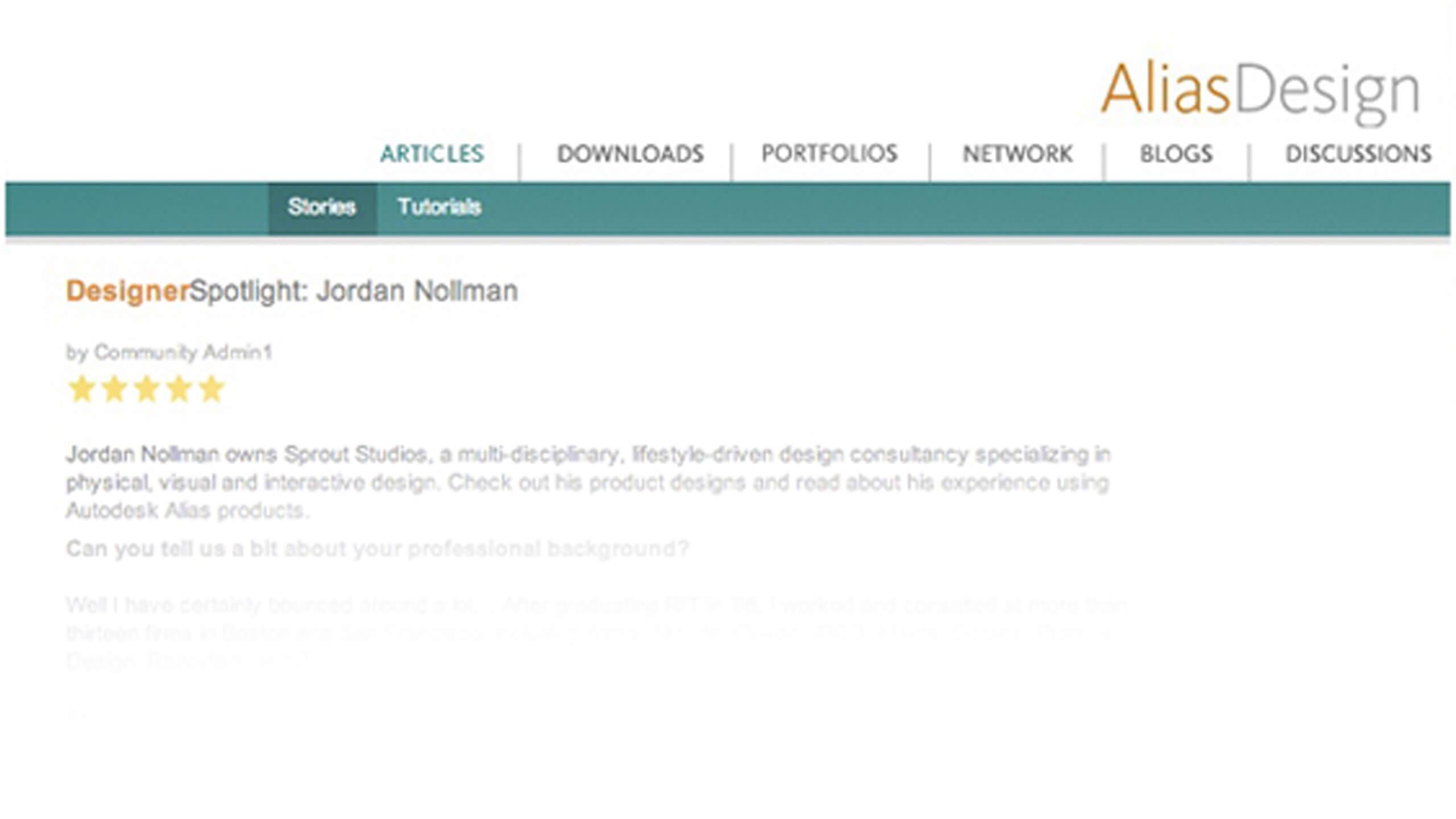 ALIAS DESIGNER SPOTLIGHT INTERVIEWS SPROUT'S JORDAN NOLLMAN