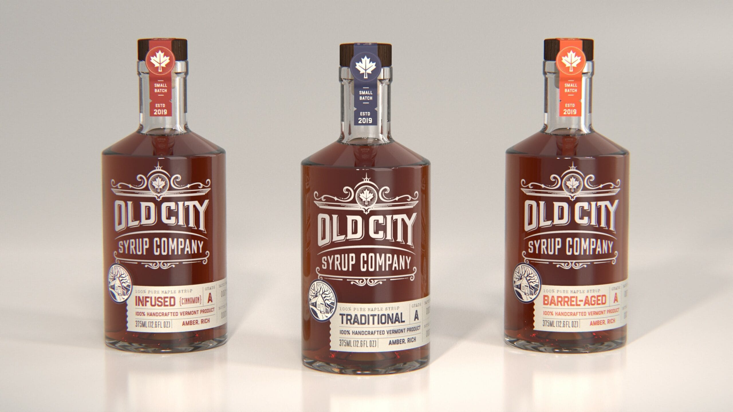 CGI Render of an Three Old City Syrup Bottles