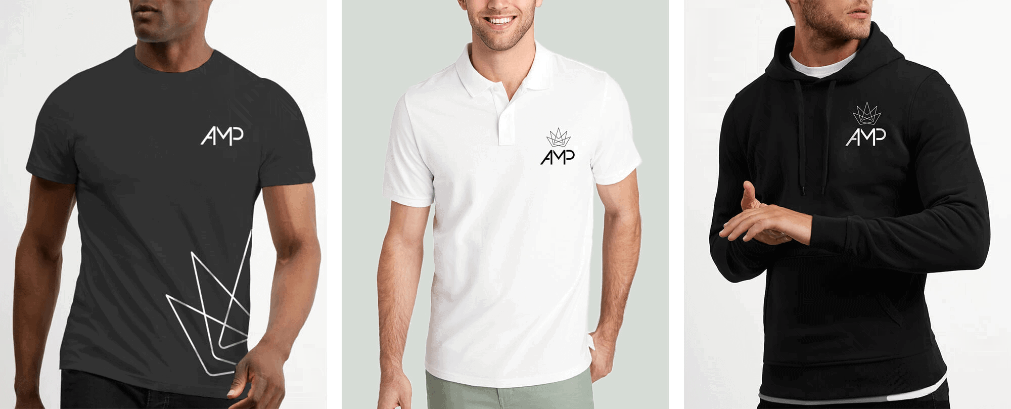 AMP black and white Shirt Polo and Hoodie Apparel