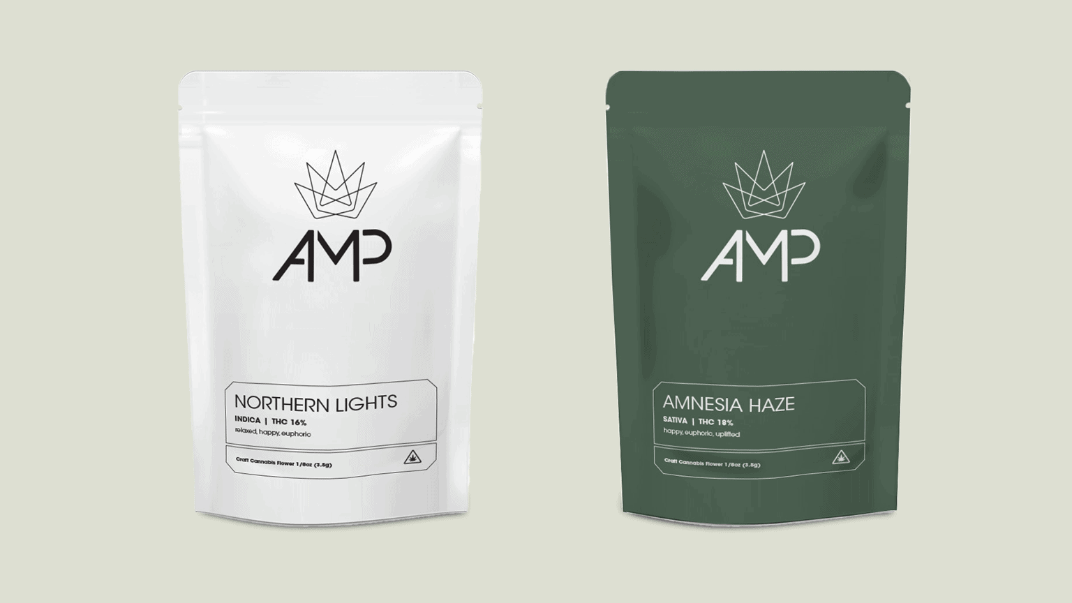 AMP Green and White Cannabis Gusset Pouch Packaging