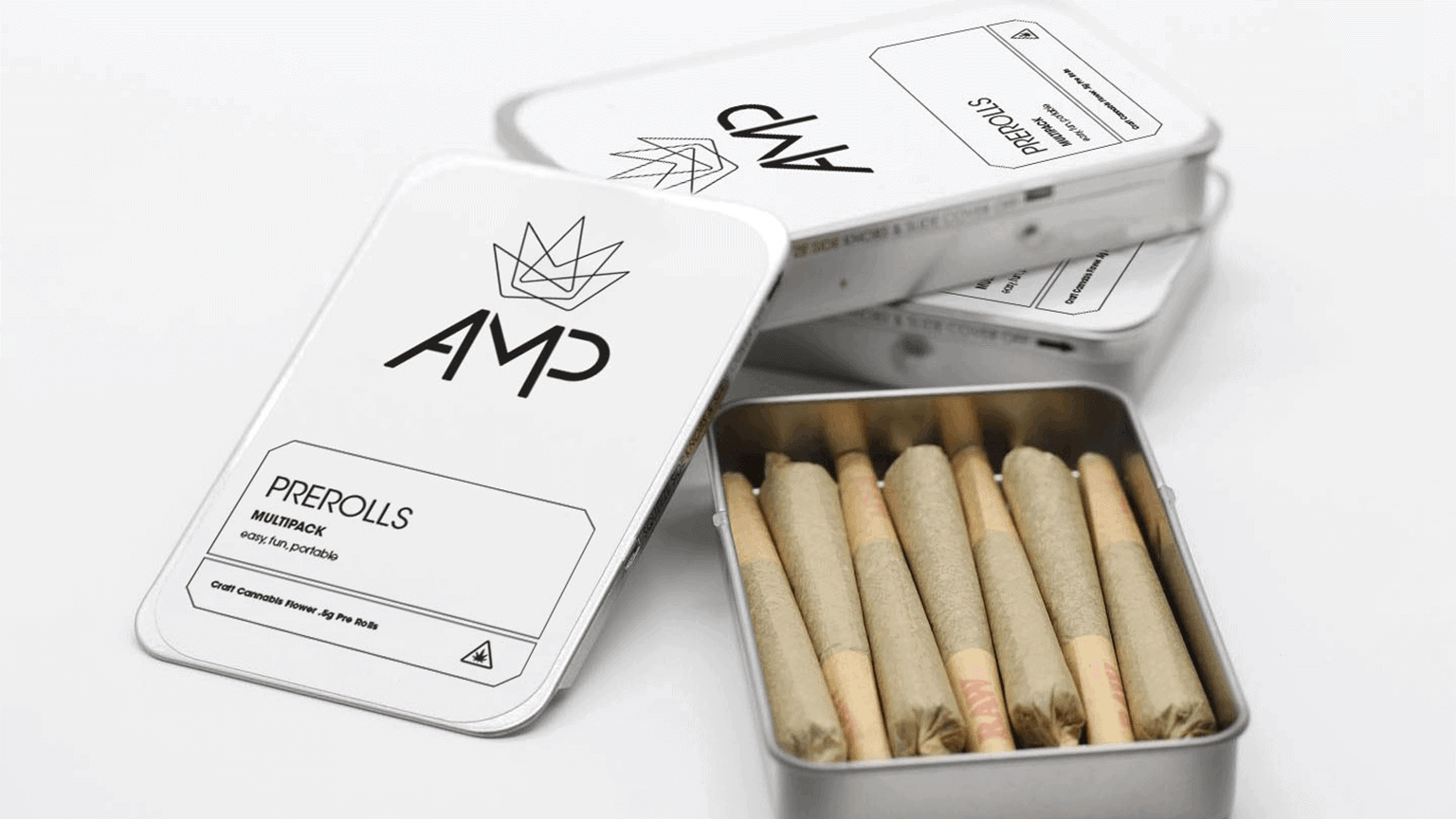 White AMP Cannabis Pre Roll Joint Packaging
