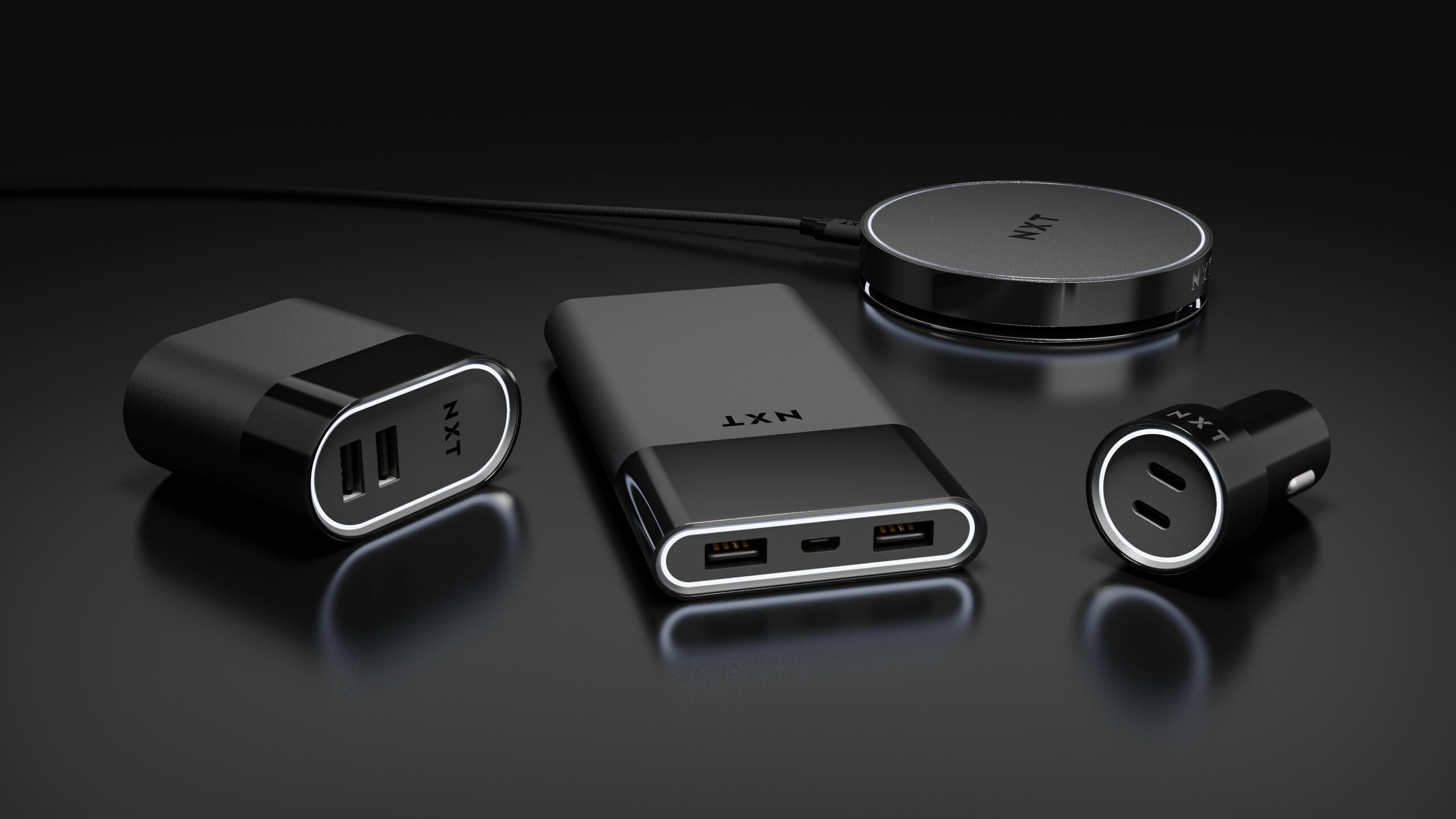 NXT Product Family Black Staples NXT Products on black Table CGI Render by Sprout Studios