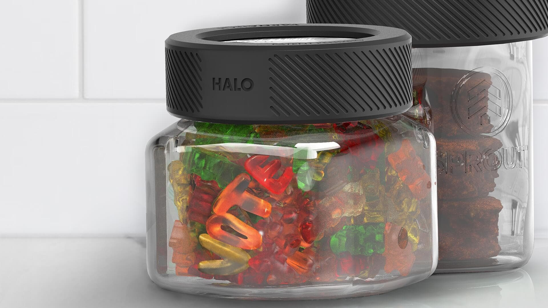 Halo on top of a mason jar with gummies that spell