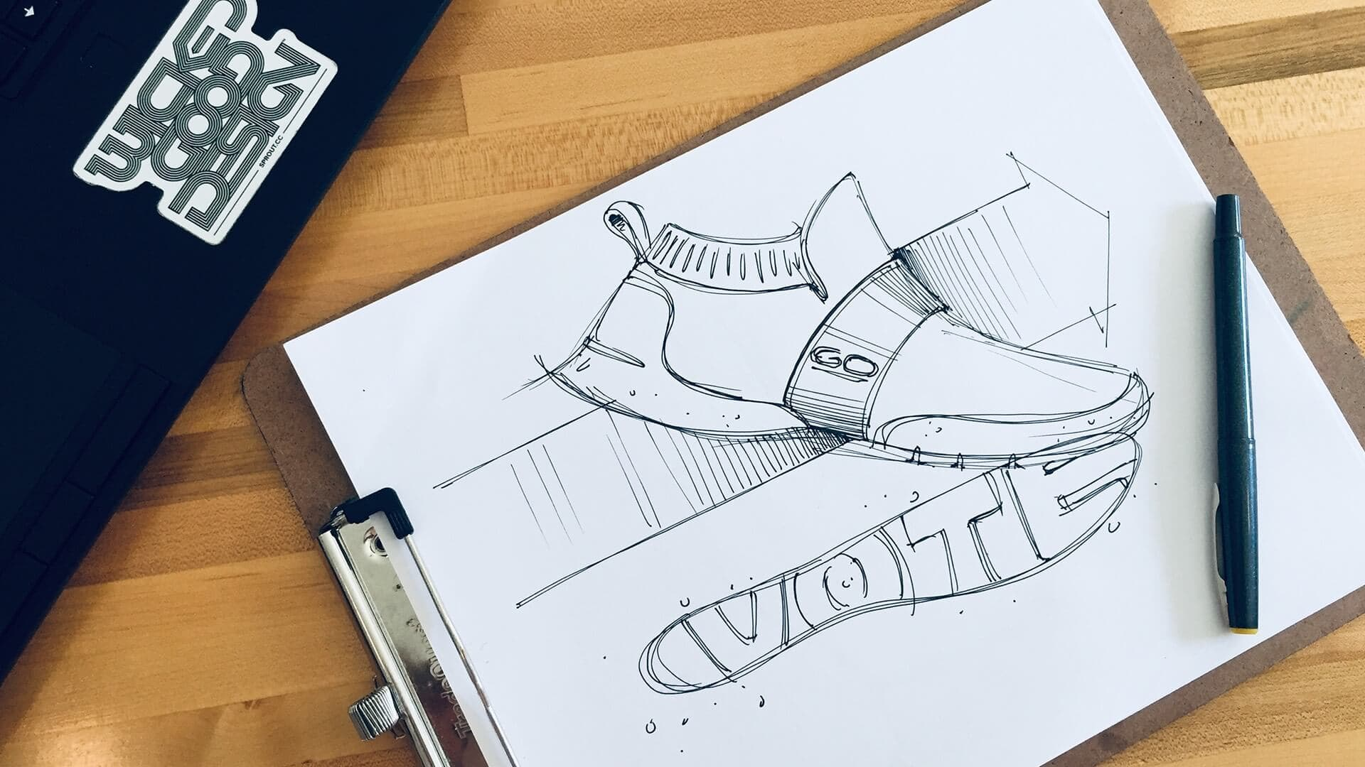 Hand sketch of a shoe with