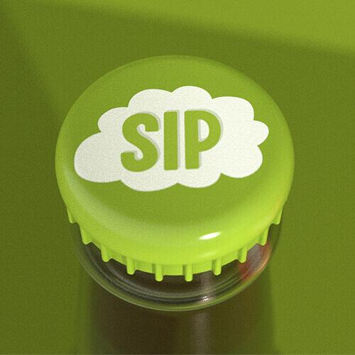 SIP logo detail on bottle cap