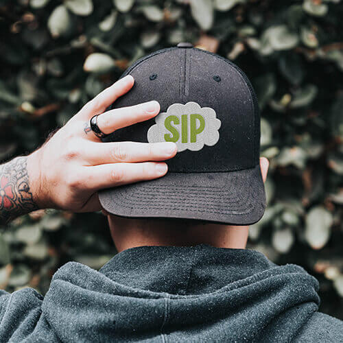 SIP cannabis branded hat with custom embroidery stitching