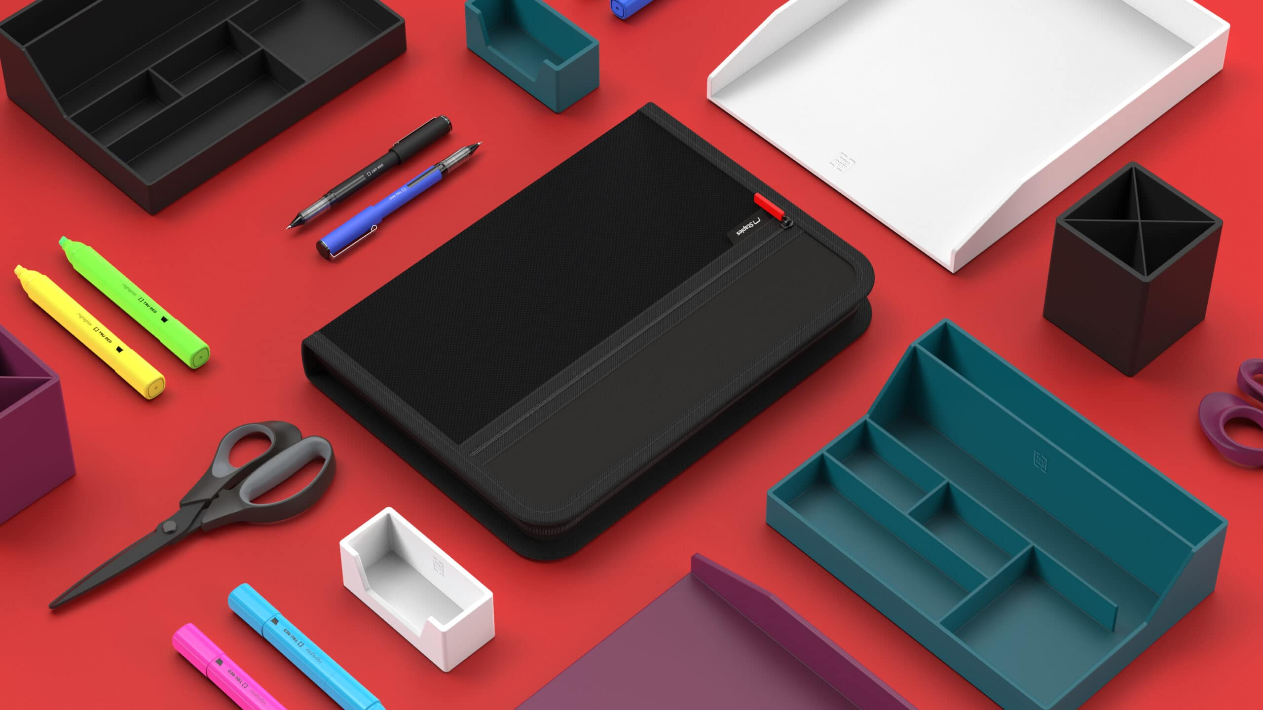 3D CAD Render by Sprout Studios of Staples Desk Accessories spaced out on a red surface