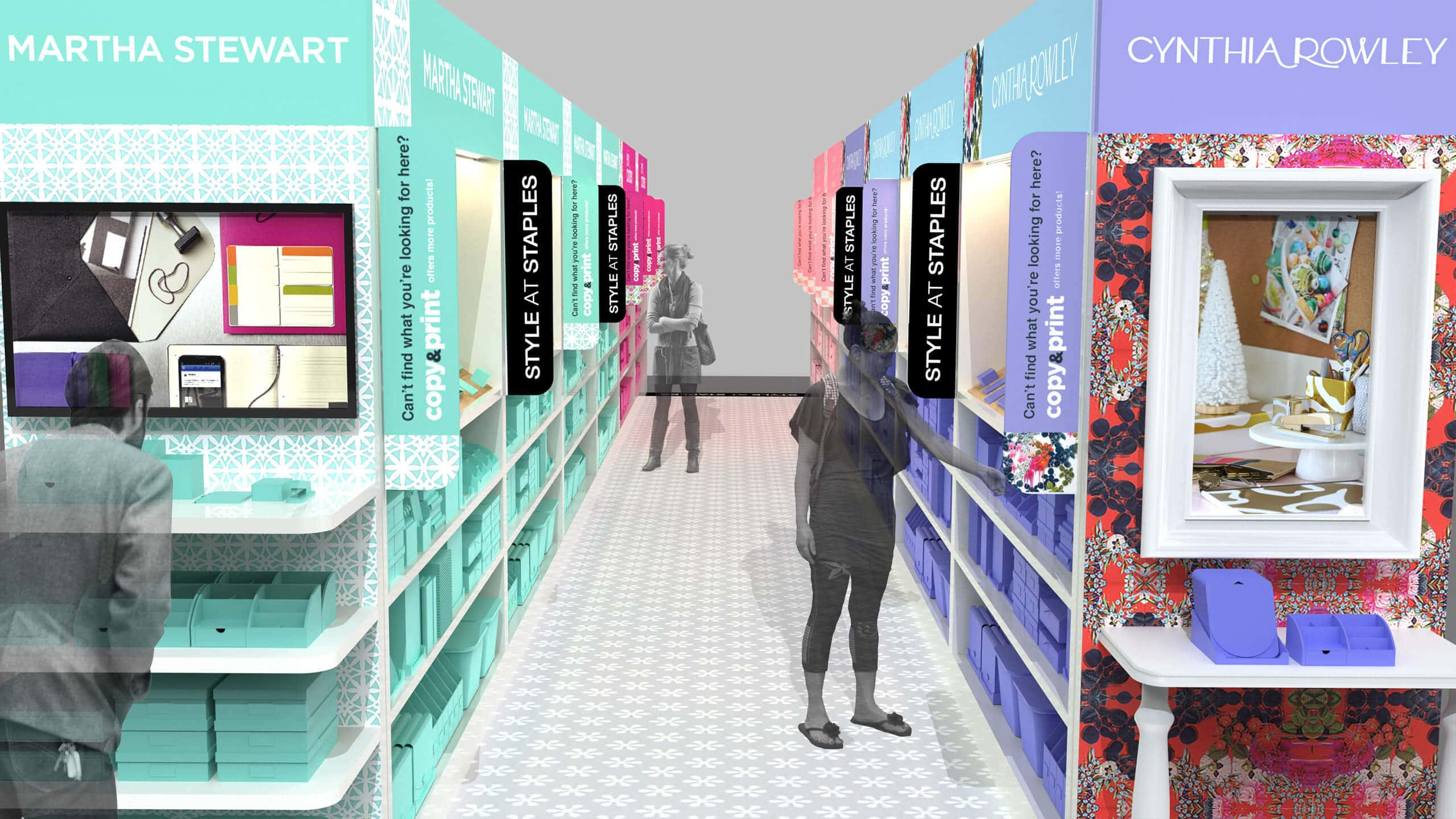 3D CAD Render a Style by Staples Store with people by Sprout Studios