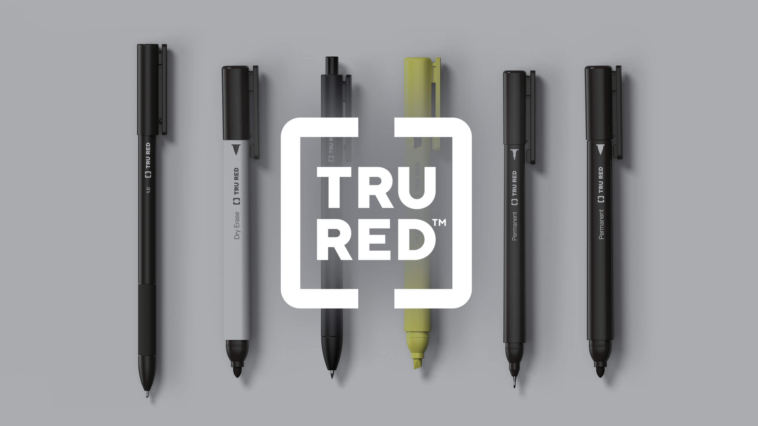 White Tru Red logo on top of a 3D CAD Render of pens, markers, and highlighters by Sprout Studios