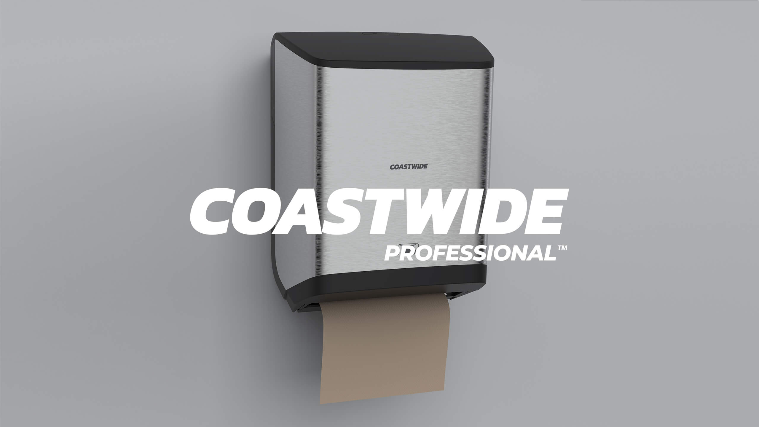 Coastwide Professional logo on top of a 3D CAD Render of Paper Towel Machine by Sprout Studios