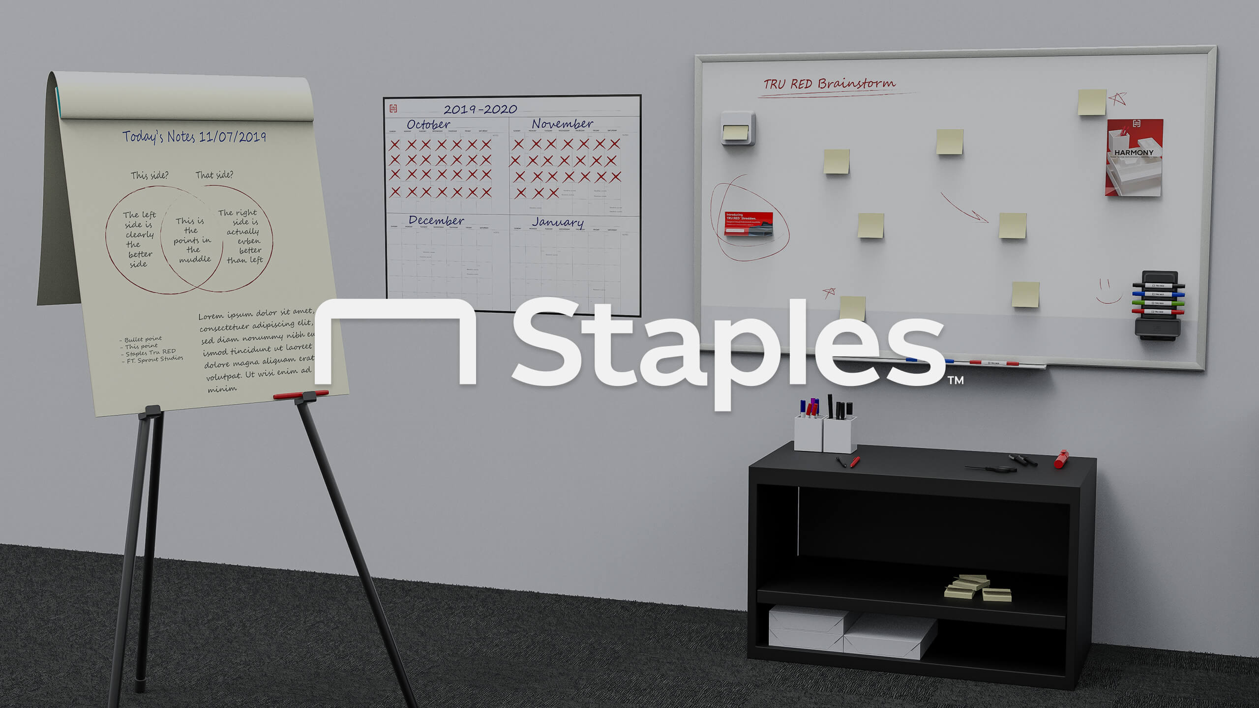 White Staples logo on top of a 3D CAD Render by Sprout Studios of an office setting