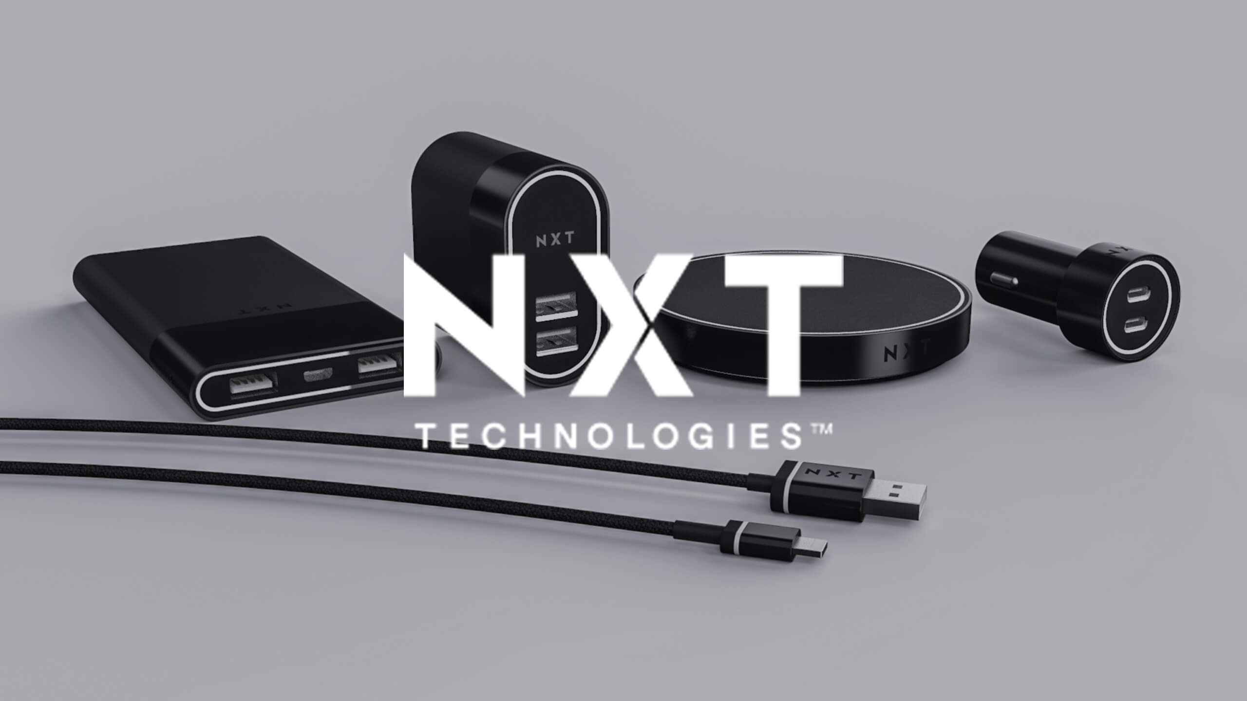 NXT Technologies logo on top of a 3D CAD Render of electronic by Sprout Studios