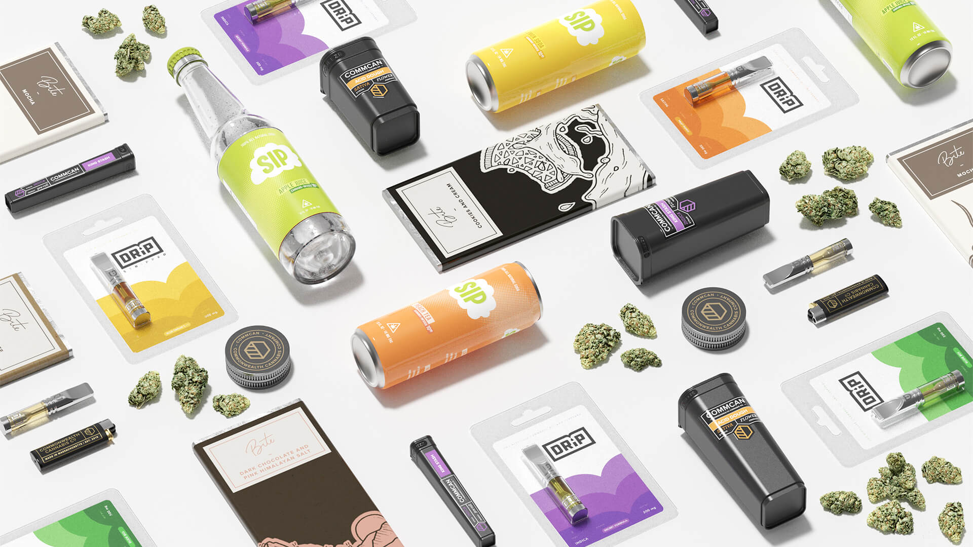 commcan bite sip drip cannabis packaging bottles cans cartridges nugs grinder layed flat on grey background