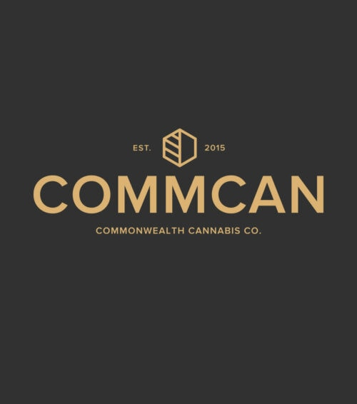 commcan commonwealth cannabis company logo gold on black